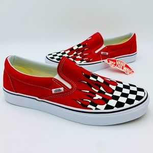 VANS CLASSIC SLIP-ON (Checker Flame) Racing Red